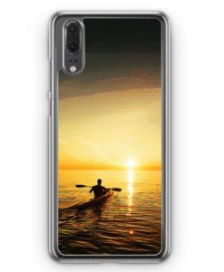 Huawei P20 Hülle Hardcase - Kayak Kanu Sonnenuntergang