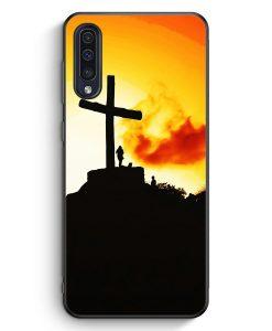 Samsung Galaxy A50 Silikon Hülle - Großes Kreuz Berg Landschaft