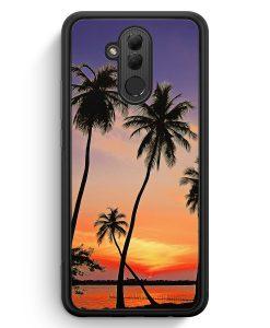 Huawei Mate 20 Lite Silikon Hülle - Sonnenuntergang Palmen Landschaft