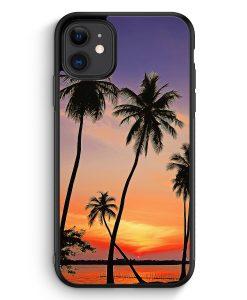 Samsung Galaxy A40 Hardcase Hülle - Sonnenuntergang Palmen Landschaft
