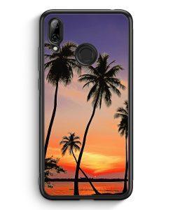 Huawei Y7 (2019) Silikon Hülle - Sonnenuntergang Palmen Landschaft