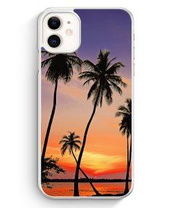 iPhone 11 Hardcase Hülle - Sonnenuntergang Palmen Landschaft