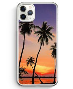 iPhone 11 Pro Max Hardcase Hülle - Sonnenuntergang Palmen Landschaft