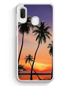 Samsung Galaxy A20e Hardcase Hülle - Sonnenuntergang Palmen Landschaft