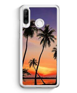 Huawei P30 Lite Hardcase Hülle - Sonnenuntergang Palmen Landschaft