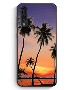 Samsung Galaxy A50 Silikon Hülle - Sonnenuntergang Palmen Landschaft