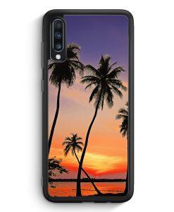Samsung Galaxy A70 Silikon Hülle - Sonnenuntergang Palmen Landschaft