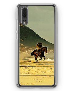 Huawei P20 Hülle Hardcase - Reiten Strand Pferd
