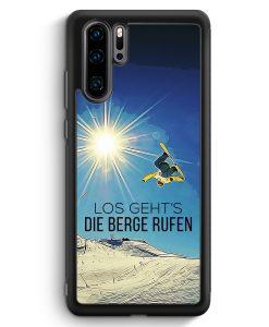Huawei P30 Pro Silikon Hülle - Los Geht's Die Berge Rufen Snowboard