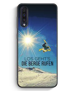 Samsung Galaxy A50 Silikon Hülle - Los Geht's Die Berge Rufen Snowboard