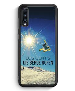 Samsung Galaxy A70 Silikon Hülle - Los Geht's Die Berge Rufen Snowboard