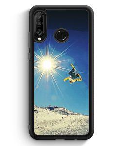 Huawei P30 Lite Silikon Hülle - Snowboard Berge Landschaft