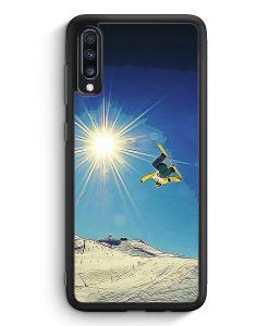 Samsung Galaxy A40 Silikon Hülle - Snowboard Berge Landschaft