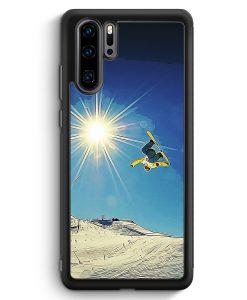 Huawei P30 Pro Silikon Hülle - Snowboard Berge Landschaft