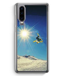Huawei P30 Hardcase Hülle - Snowboard Berge Landschaft