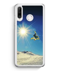 Huawei P30 Lite Hardcase Hülle - Snowboard Berge Landschaft