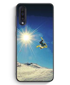 Samsung Galaxy A50 Silikon Hülle - Snowboard Berge Landschaft