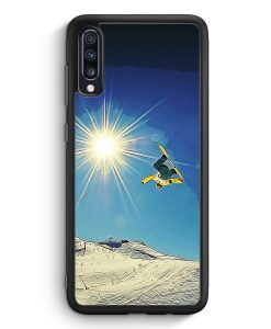 Samsung Galaxy A70 Silikon Hülle - Snowboard Berge Landschaft