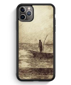 iPhone 11 Pro Max Silikon Hülle - Vintage Meer Angler Angeln
