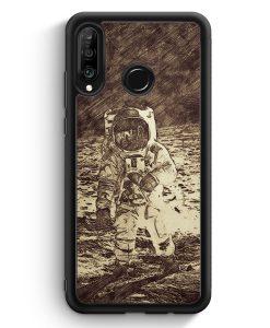 Huawei P30 Lite Silikon Hülle - Vintage Astronaut auf Mond