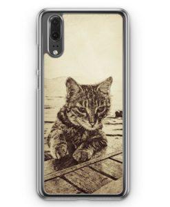 Huawei P20 Hülle Hardcase - Vintage Katze Am Meer