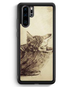 Huawei P30 Pro Silikon Hülle - Vintage Katzenbaby