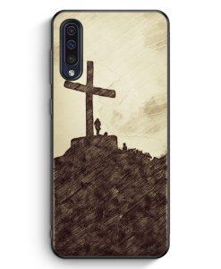 Samsung Galaxy A50 Silikon Hülle - Vintage Großes Kreuz Landschaft