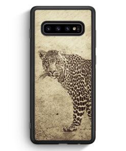 Samsung Galaxy S10 Silikon Hülle - Vintage Leopard