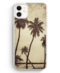 iPhone 11 Hardcase Hülle - Vintage Palmen Landschaft
