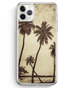iPhone 11 Pro Max Hardcase Hülle - Vintage Palmen Landschaft