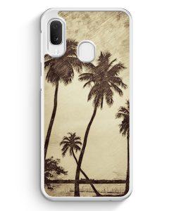 Samsung Galaxy A20e Hardcase Hülle - Vintage Palmen Landschaft