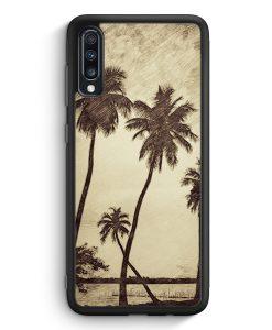 Samsung Galaxy A70 Silikon Hülle - Vintage Palmen Landschaft
