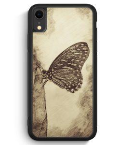 iPhone XR Silikon Hülle - Vintage Schmetterling