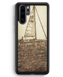 Huawei P30 Pro Silikon Hülle - Vintage Segeln Boot Schiff Meer