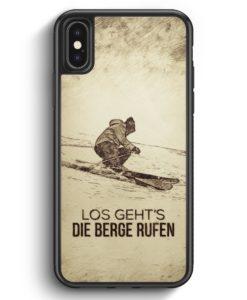 iPhone X & iPhone XS Silikon Hülle - Vintage Los Geht's Die Berge Rufen Ski