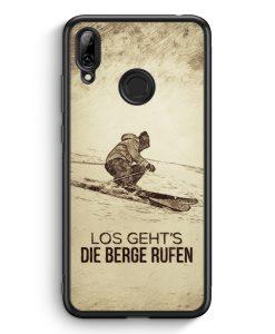 Huawei Y7 (2019) Silikon Hülle - Vintage Los Geht's Die Berge Rufen Ski