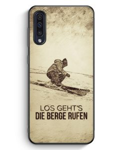 Samsung Galaxy A50 Silikon Hülle - Vintage Los Geht's Die Berge Rufen Ski
