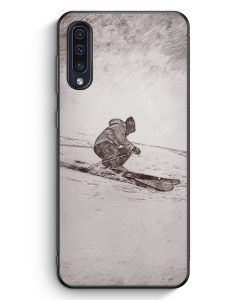 Samsung Galaxy A50 Silikon Hülle - Vintage Ski