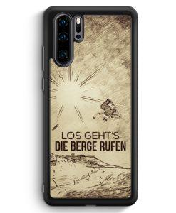 Huawei P30 Pro Silikon Hülle - Vintage Los Geht's Die Berge Rufen Snowboard