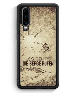 Huawei P30 Silikon Hülle - Vintage Los Geht's Die Berge Rufen Snowboard