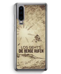 Huawei P30 Hardcase Hülle - Vintage Los Geht's Die Berge Rufen Snowboard