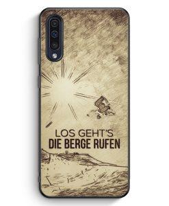 Samsung Galaxy A50 Silikon Hülle - Vintage Los Geht's Die Berge Rufen Snowboard