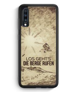 Samsung Galaxy A70 Silikon Hülle - Vintage Los Geht's Die Berge Rufen Snowboard