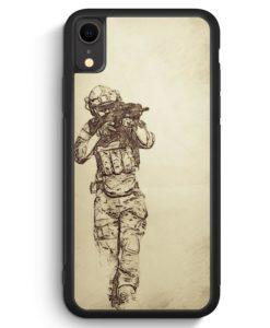 iPhone XR Silikon Hülle - Vintage Soldat Militär Front