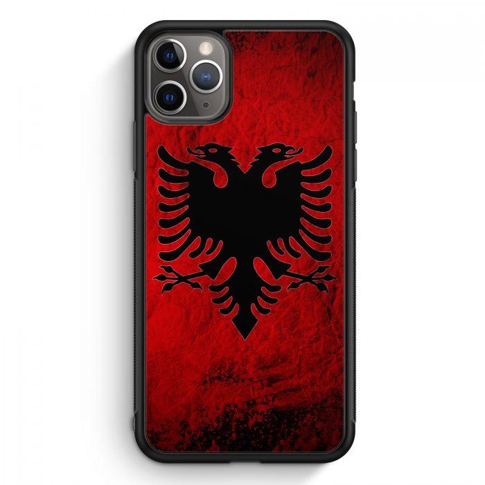 iPhone 11 Pro Max Silikon Hülle - Albanien Splash Flagge