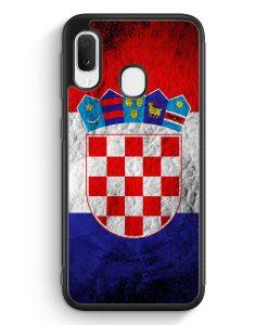 Samsung Galaxy A20e Silikon Hülle - Kroatien Splash Flagge Hrvatska Croatia