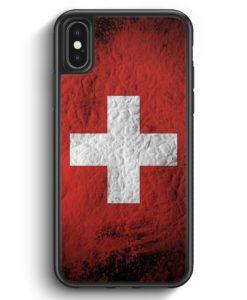 iPhone X & iPhone XS Silikon Hülle - Schweiz Splash Flagge