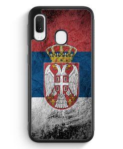 Samsung Galaxy A20e Silikon Hülle - Serbien Splash Flagge Serbia Srbija