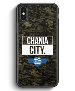 iPhone X & iPhone XS Silikon Hülle - Chania City Camouflage Griechenland