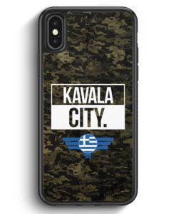 iPhone X & iPhone XS Silikon Hülle - Kavala City Camouflage Griechenland